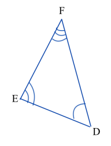 Triangle DEF. Angle D is marked congruent to angle A in triangle ABC, angle E is marked congruent to angle B, and angle F is marked congruent to angle C. Triangle ABC is shown in a different picture.