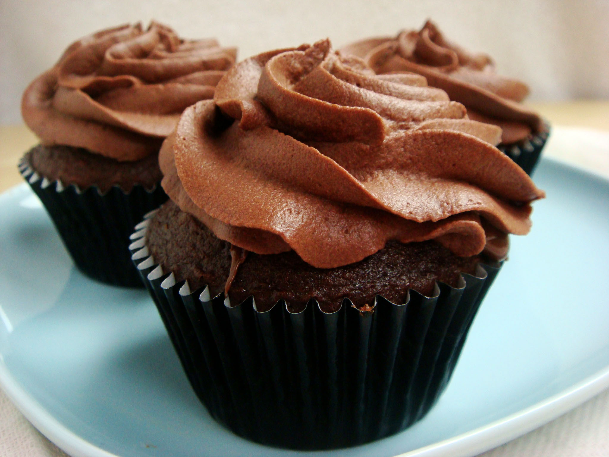 Chocolate Cupcakes With Nutella Centers And Whipped