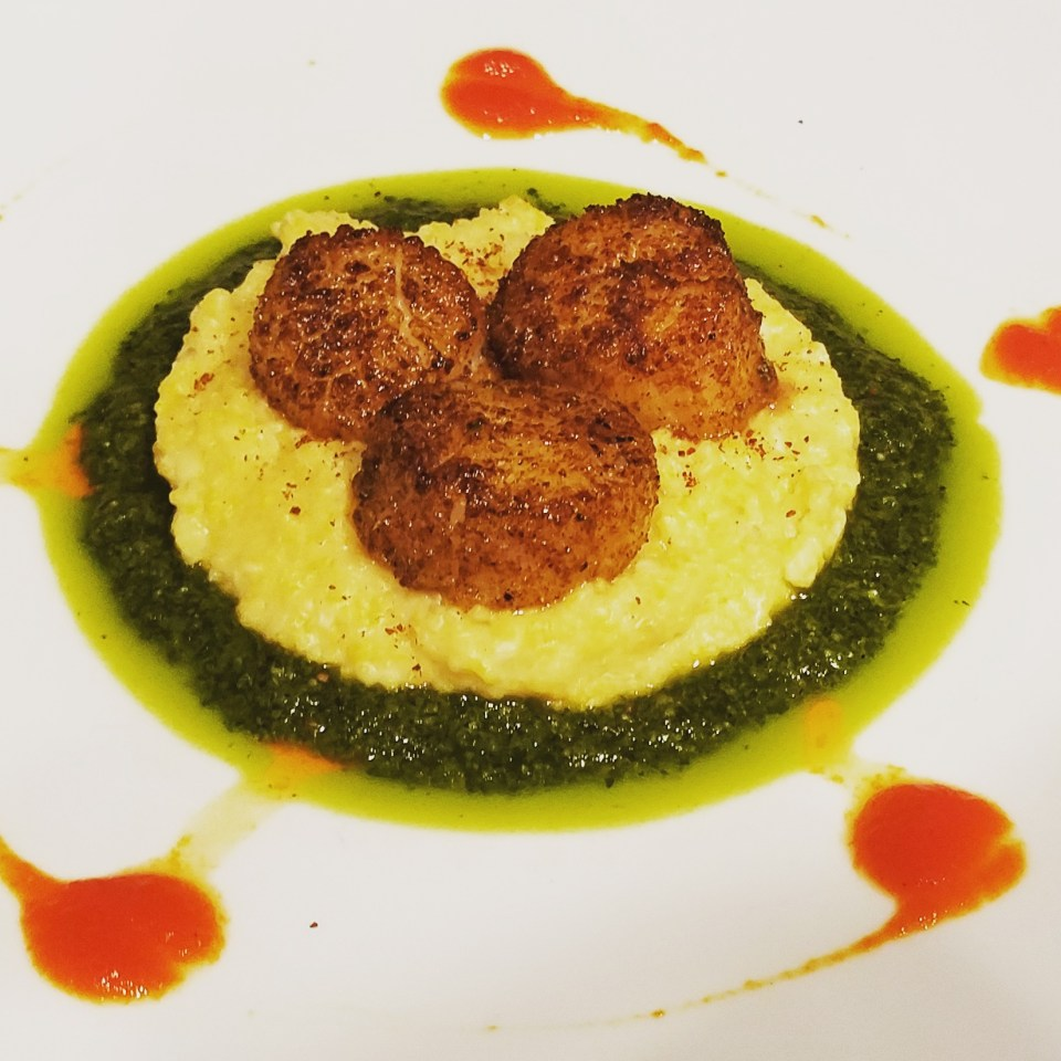 Blackened Scallops with Polenta, Chimichurri, and Roasted Red Pepper Coulis