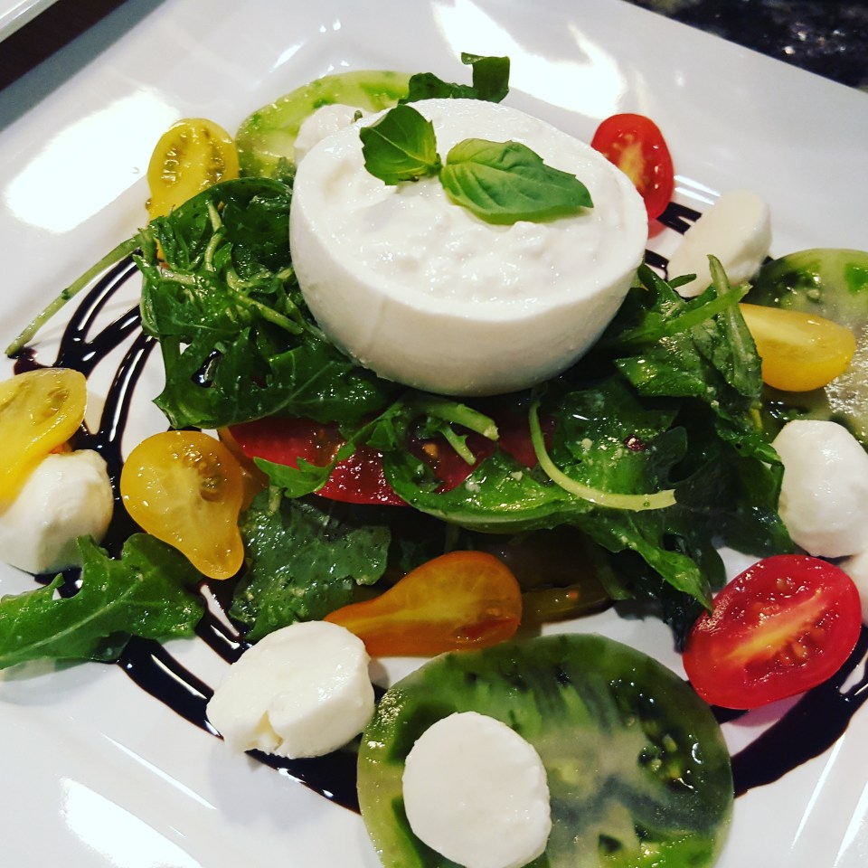 Caprese Salad with Burrata, Arugula, Pesto, & Balsamic Glaze