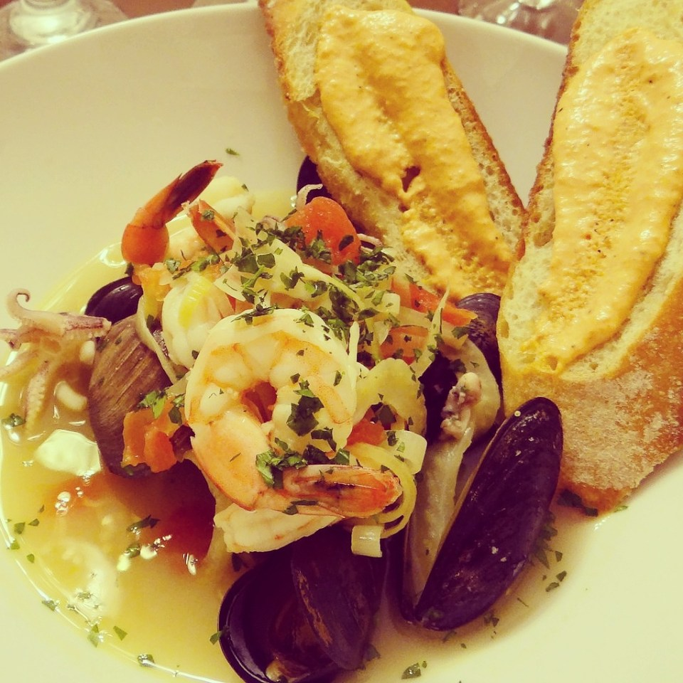 Bouillabaisse with rouille crostini