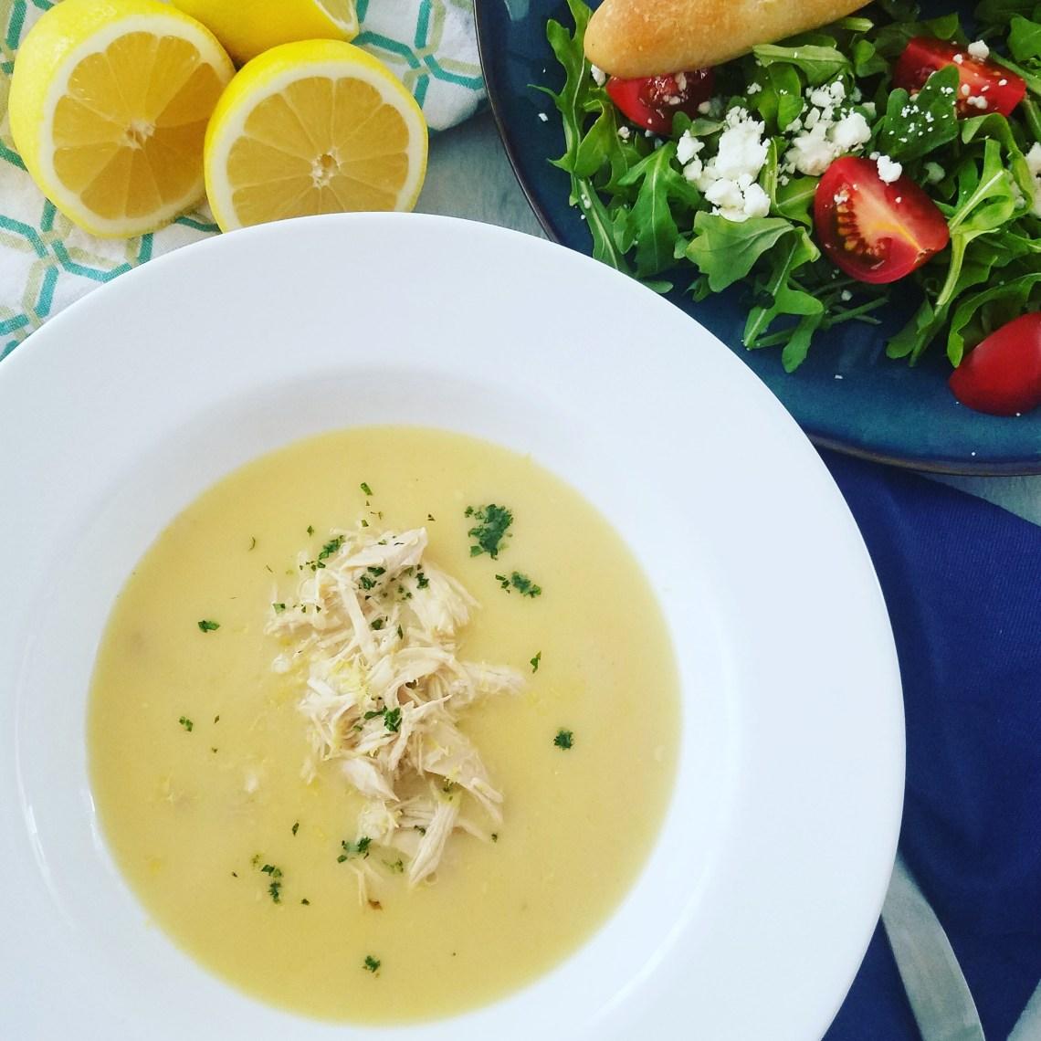 Avgolemono Soup with Greek Salad and Lemons