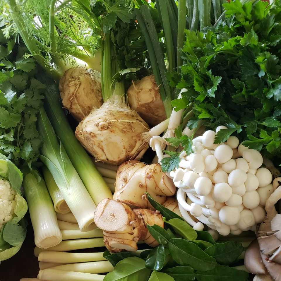 Asian market produce- cilantro, celery root, mushrooms, lemongrass, kefir lime, galangal, and more