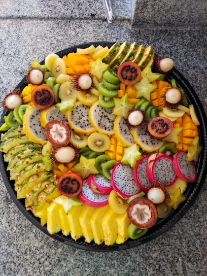 Tropical Fruit Board or platter with colorful arrangement