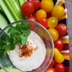 Chile Lime Dip surrounded by vegetables