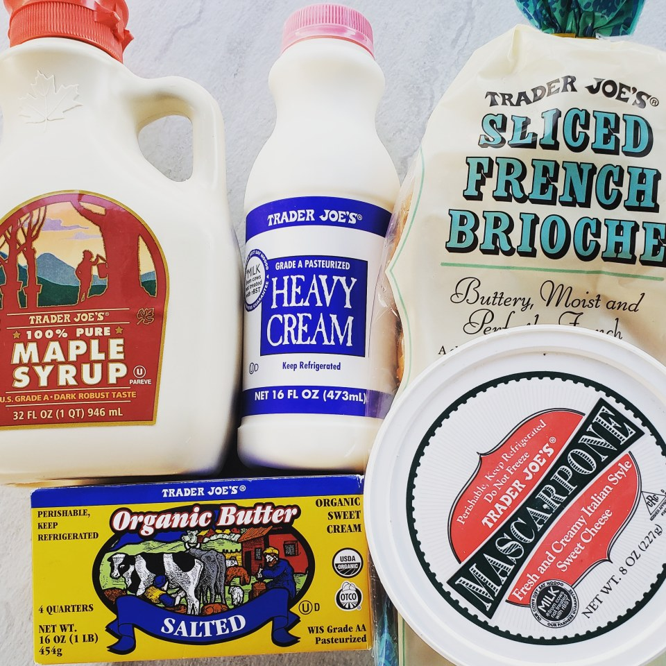 Maple Syrup, Heavy Cream, Brioche loaf, mascarpone, and butter in packages from Trader Joe's