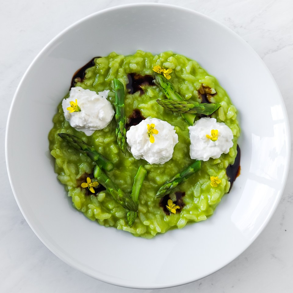 asparagus risotto in bowl