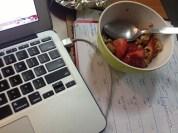 Breakfast at the office: granola, strawberries, honey