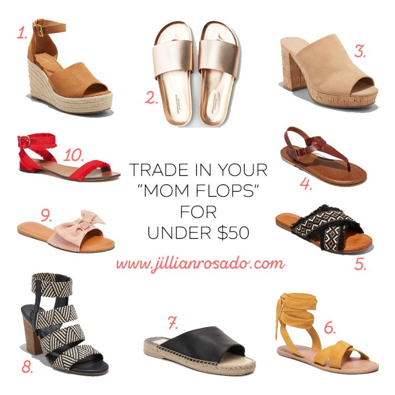 "trade in your ""mom flops"" for under $50"