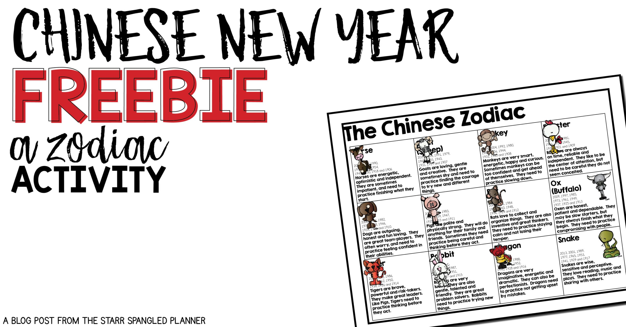 Chinese New Year Free Activity- Chinese Zodiac The Cat and