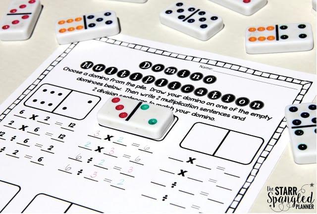Multiplication Activity using Dominoes