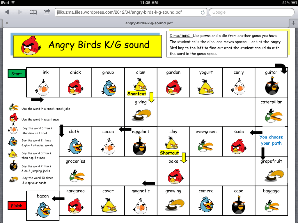 Angry Birds Articulation Games