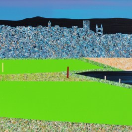 St Andrews from the Castle Course. Acrylic on board, 42cm x 20cm