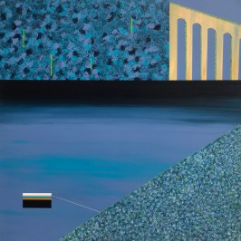 Viaduct, tweed and boat, Acrylic on board, 60cm x 60cm