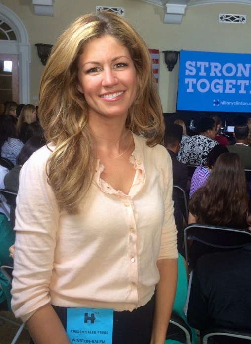Jill covering Chelsea Clinton Rally