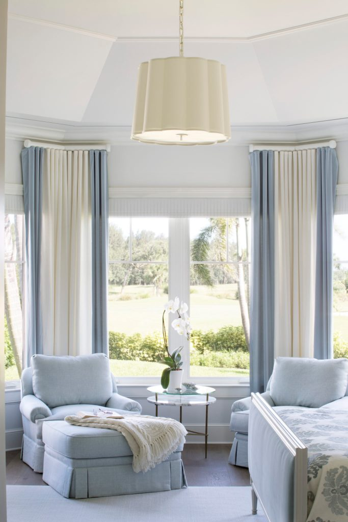 Sitting Area of Master Bedroom Blue Chairs and Draperies Jill Shevlin Design New Construction Home Orchid Island Vero Beach