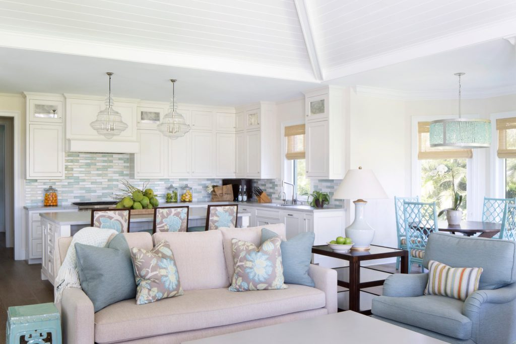 Family Room Beige Chenille Sofa in Indoor outdoor Fabric Bar Kitchen Jill Shevlin Design Vero Beach Interior Designer New Home Construction Luxury Real Estate Orchid Island Vero Beach, Florida