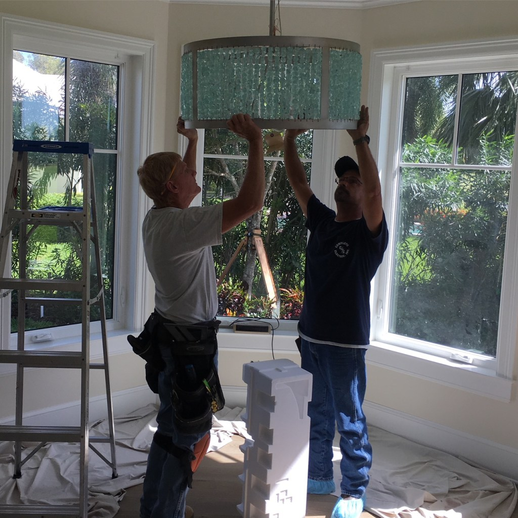 Jill Shevlin Design, Vero Beach Interior Designer, New Construction Home, During Construction Chandelier Installation