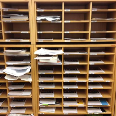 Brochures in shelves