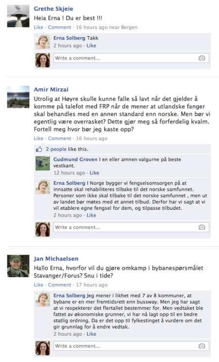 Questions on Erna Solberg's Facebook wall. The snapshot was taken on August 5, 12pm.