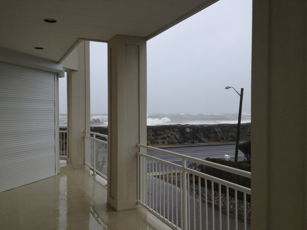 hurricane sandy view from deck shutters waves