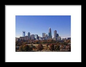 Framed Charlotte Skyline Print