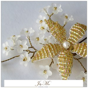 pin floral bloom gold