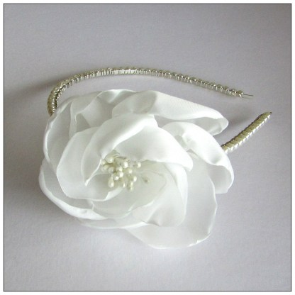 pearl band large fabric flower