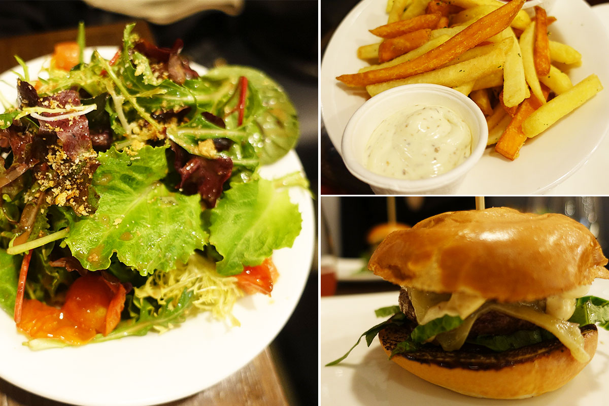 Bunter Salat, Knusprige Fritten und Cheeseburger von Billy the Butcher