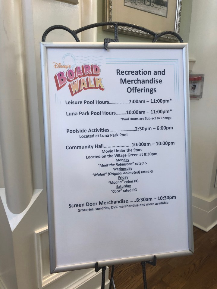 Latest Pool Hours/Dining Options at Boardwalk