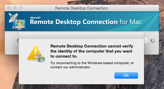 Hasilnya: Remote Desktop Connection cannot verify the identity of the computer that you want to connect to