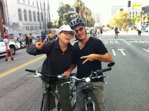 Meredith Portnoff and Jim Arnold (Jimbolaya) in front of City Hall at CicLAvia 2012.