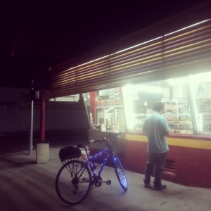 The donut stand on Magnolia and Keystone in Burbank. That's my bike, but the guy is someone else.