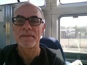 Blogger on train
