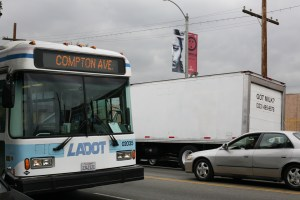 LADOT/DASH bus along Florence Avenue in South Los Angeles