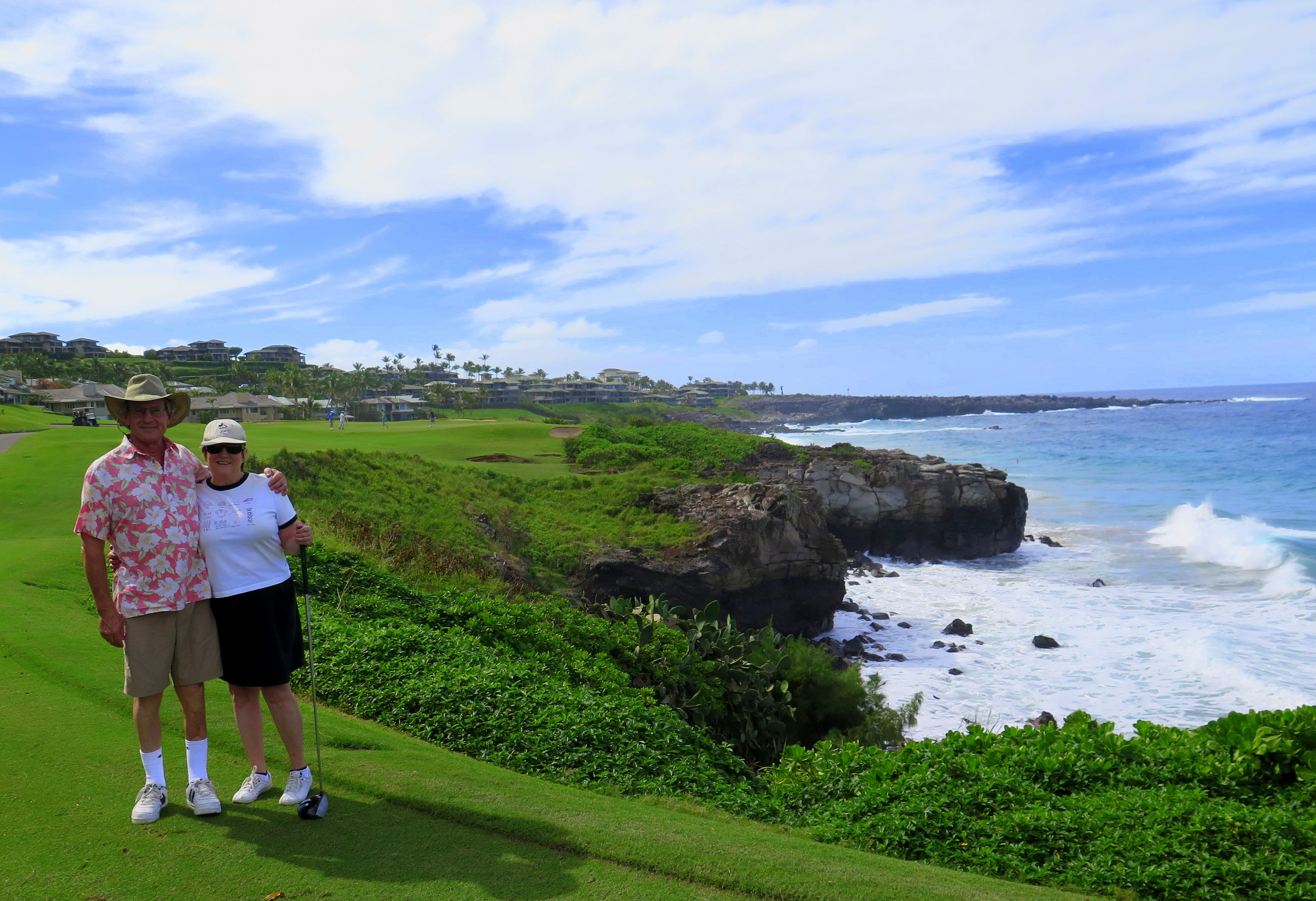 The fifth hole at Kapalua's Bay course (that's my sister and her friend in the photo) forces golfers to carry the ball over the water and onto a tricky green. Gorgeous.