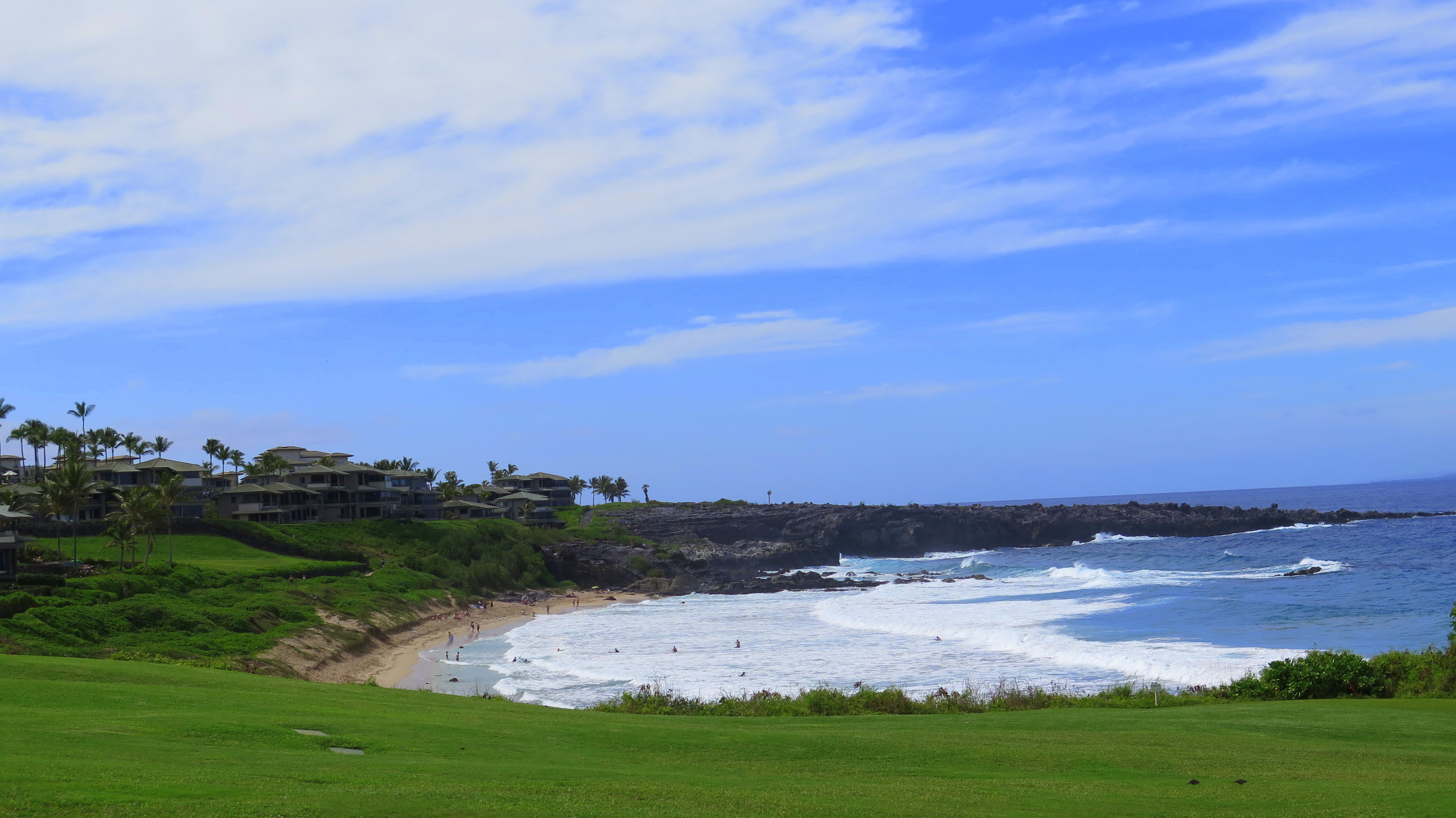 The fifth hole at the Kapalua Bay course overlooks a great beach.