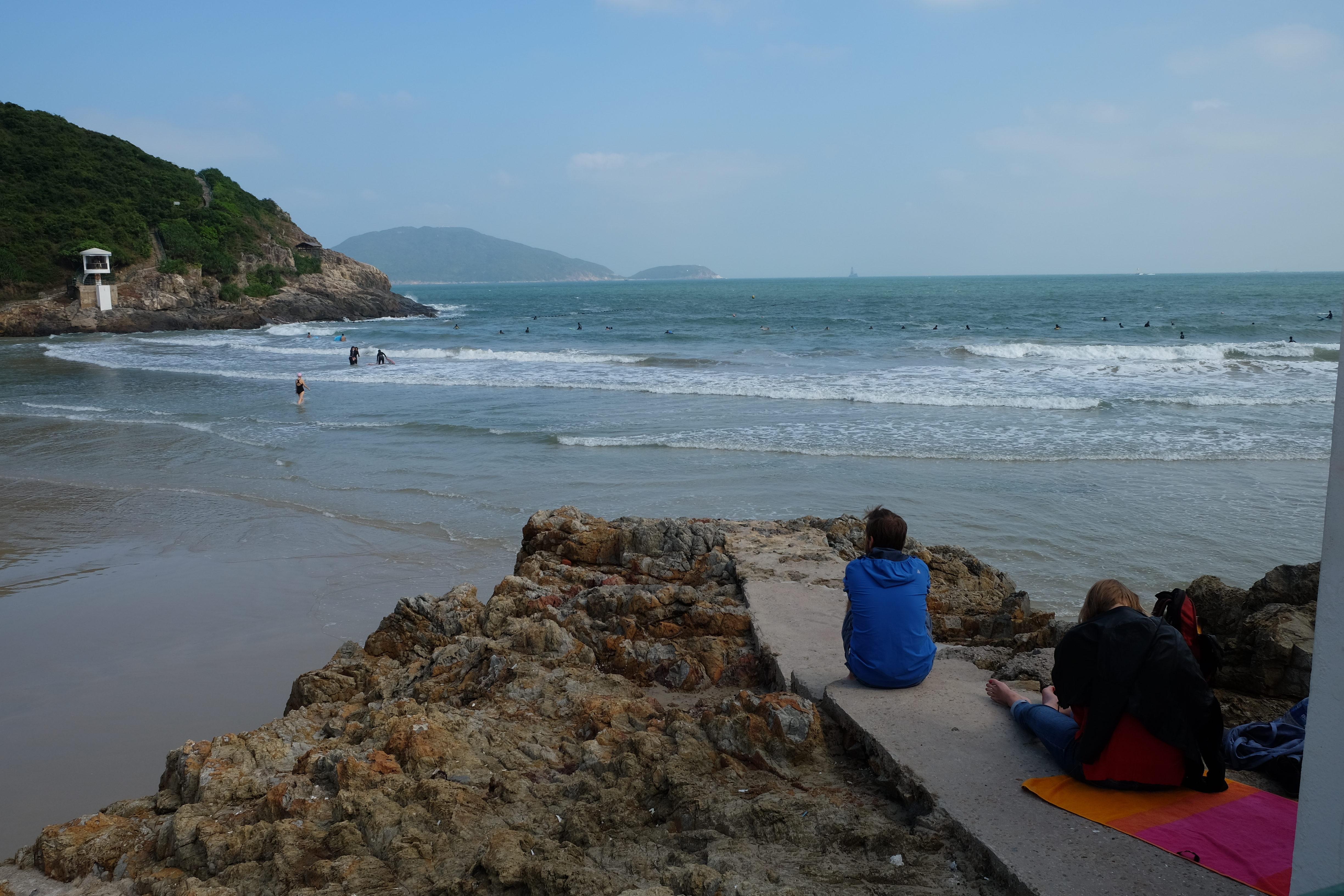 Watching the surfers at Big Wave Bay.