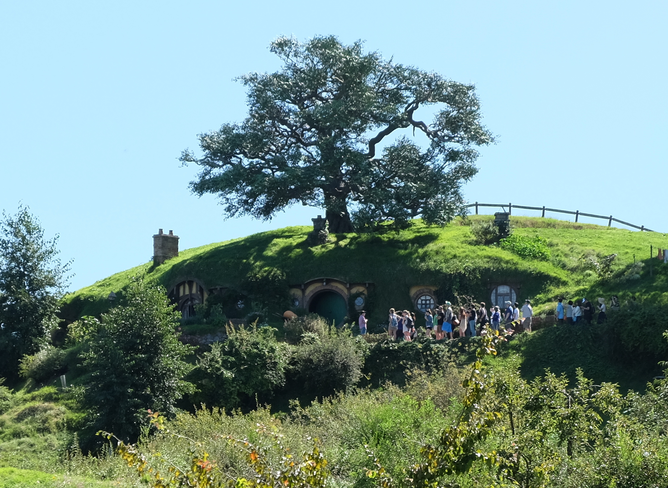 "The ""Bag End' hobbit holes seen from below. - JIM BYERS PHOTO"