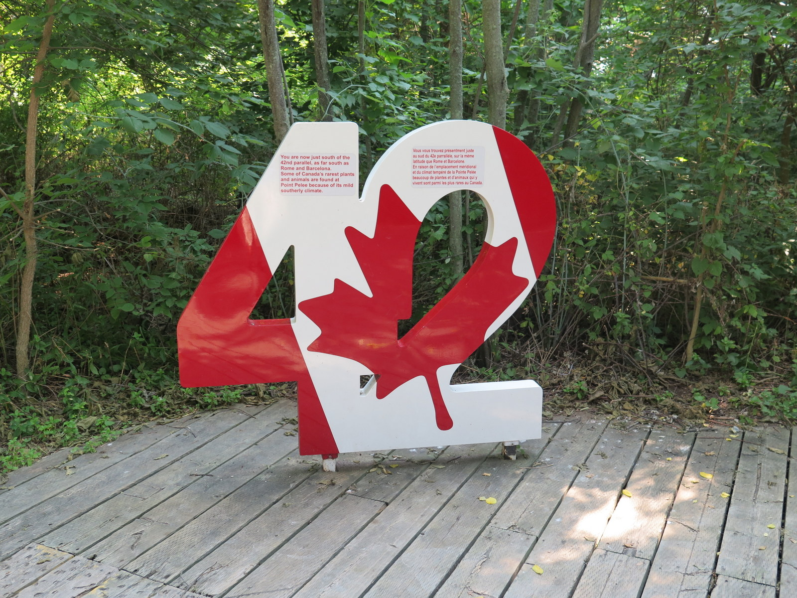 You'll find a stylized Canadian flag at Point Pelee National Park in Ontario; the southernmost point of Canada at around 42 degrees of latitude.  JIM BYERS PHOTOlatitu