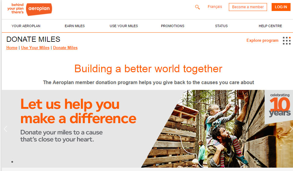 Aeroplan member donation program  Donate Miles - Google Chrome 2016-07-26 40341 PM