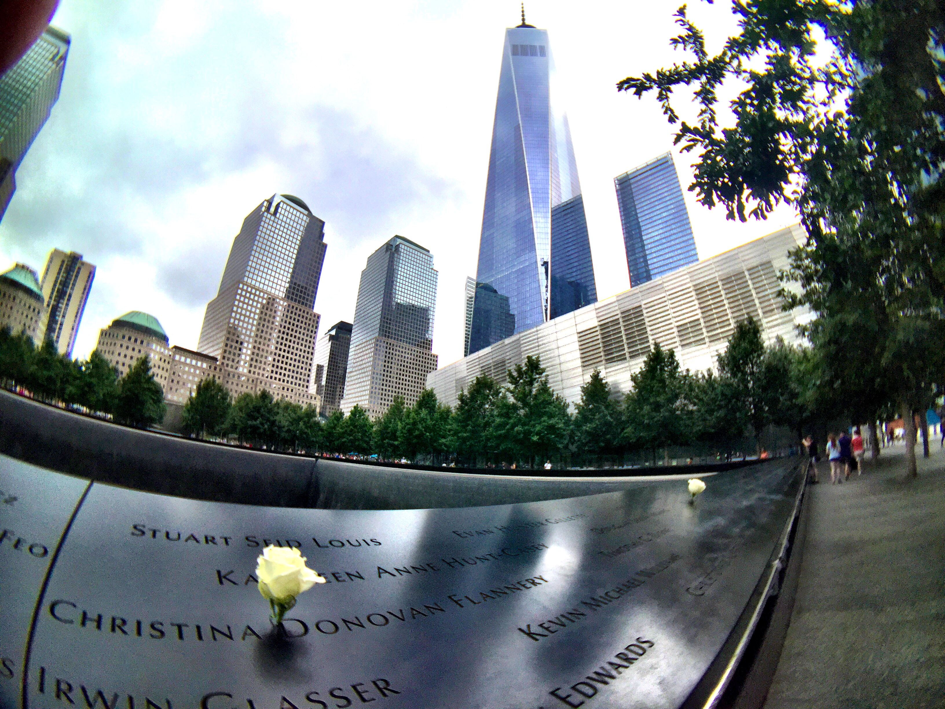 The 9/11 Memorial to victims of the Twin Towers  attack is only a short distance from the new One World Trade Center building and other new projects in Lower Manhattan. JIM BYERS PHOTO (with help from a Hitcase wide angle lens on my iPhone)