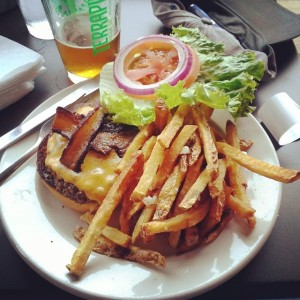 Just a bacon cheeseburger, garlic fries and a Terrapin Hopsecutioner... At Tyler's Taproom in Raleigh.