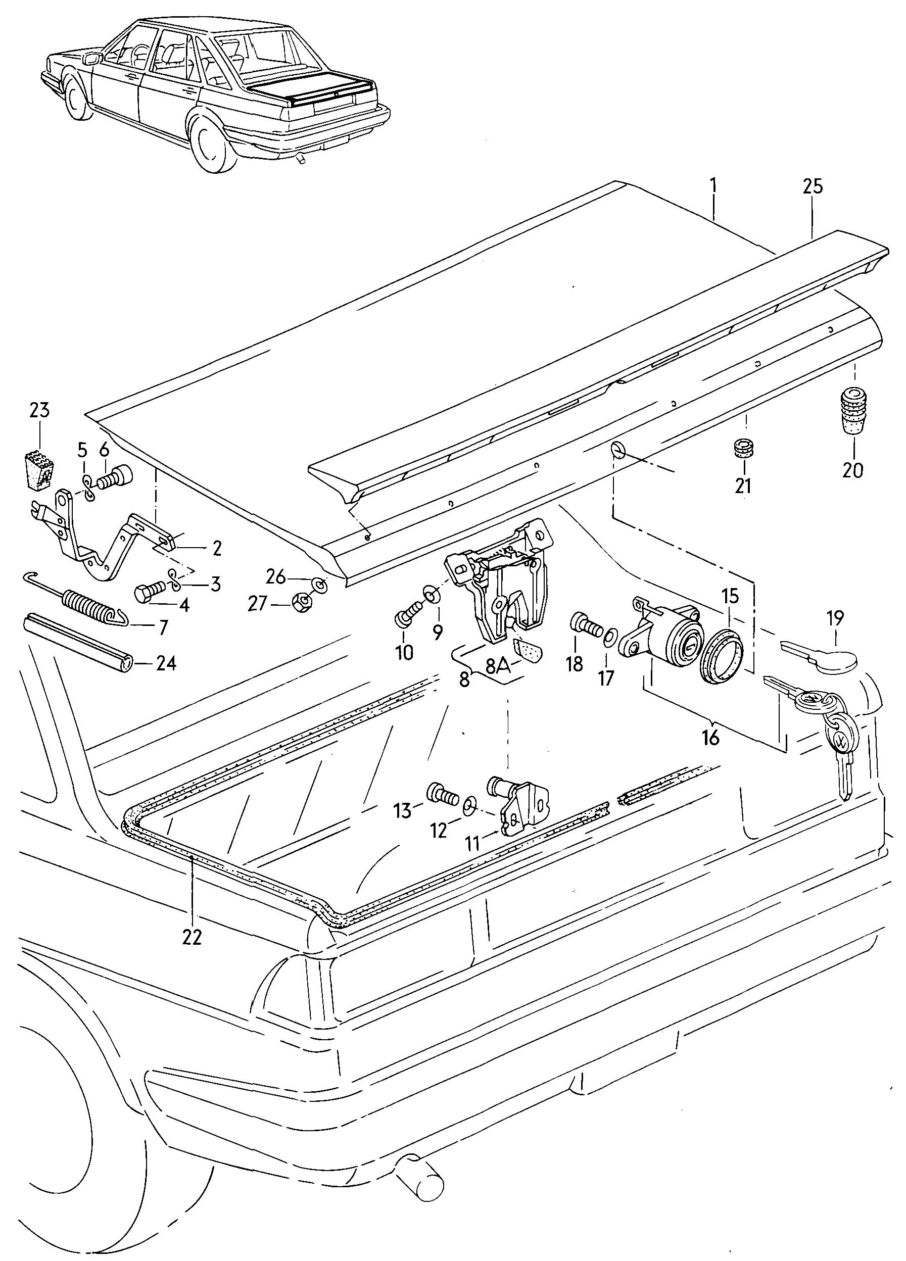 Volkswagen Quantum Rear Trunk Lid Spoiler
