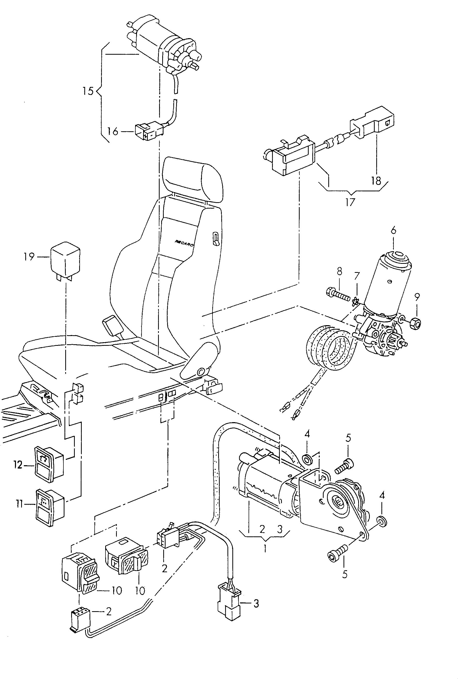 Volkswagen Corrado Electrical Parts For Seat And Backrest