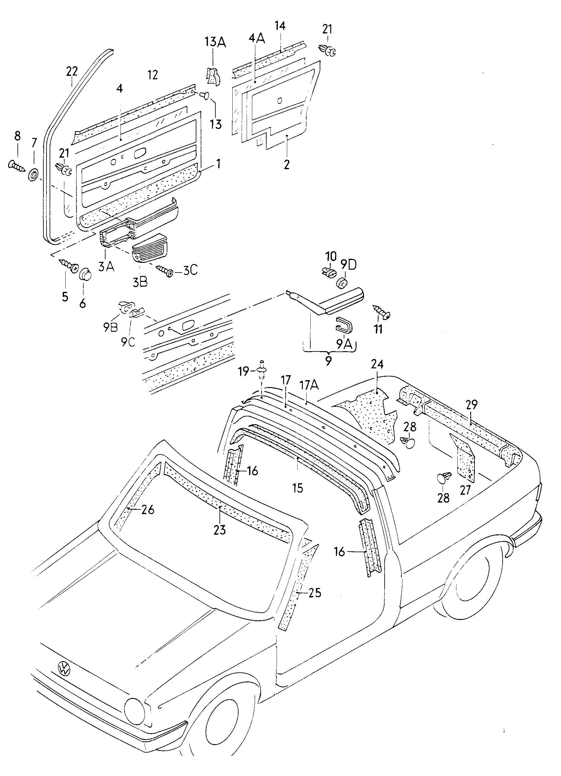 Volkswagen Vw Cabrio Cabriolet Interior Trim