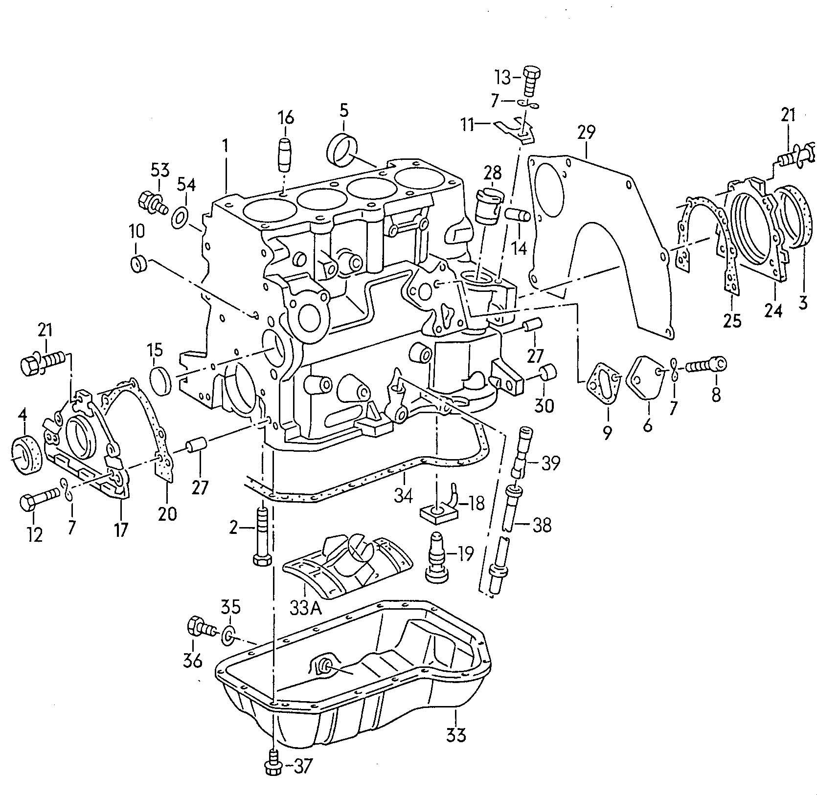 Volkswagen Quantum Cylinder Block With Pistons Oil