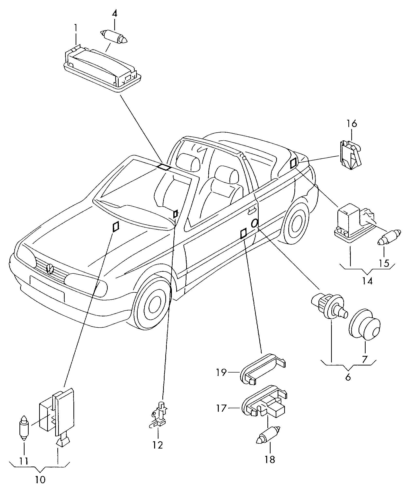 Volkswagen Cabrio Cabriolet Luggage Compartment Light Glove Box Light Interior Light Switch