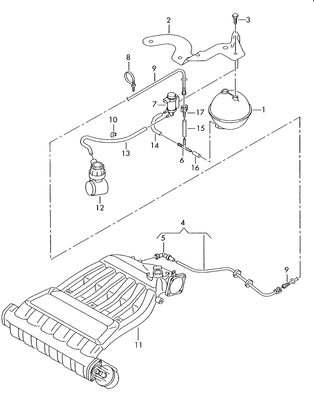 Volkswagen Eos Vacuum System For Rear Muffler 3 2 3 6 Ltr