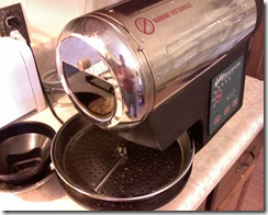 Hot Top drum roaster about to spill the beans...